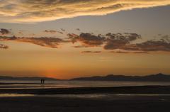 Stock Photo of sunset on the great salt lake, salt lake city, utah, usa