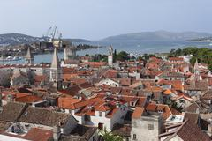 view from the spire of the cathedral, trogir, dalmatia, adriatic, croatia, eu - stock photo