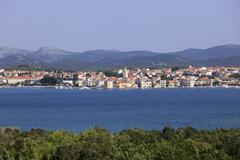 Pirovac, view from murter island, dalmatia, adriatic sea, croatia, europe Stock Photos