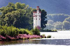 binger maeuseturm tower, maeuseturminsel island in the rhine river, bingerbru - stock photo