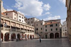 City loggia at the cathedral square, sibenik, dalmatia, adriatic sea, croatia Stock Photos