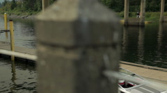 Pontoon Boat Leaves Dock Stock Footage