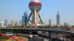 Oriental Pearl Tower in Pudong District, China Stock Footage