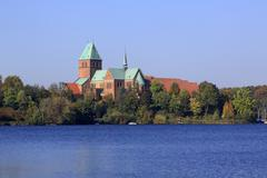 domsee lake and ratzeburger dom cathedral on the dominsel island, monumental  - stock photo