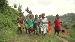 African Children from Batwa Tribe Running in Slow Motion, Uganda - stock footage