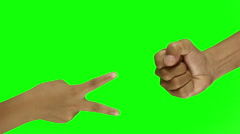Playing rock paper scissors On Green Screen background Stock Footage