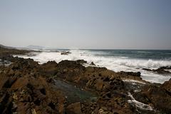 Rock formations on the rocky coast, atlantic coast near saint-jean-de-luz, do Stock Photos
