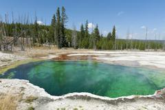 hot spring with green water, abyss pool, west thumb geyser basin, yellowstone - stock photo