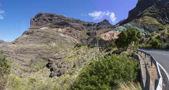 los azulejos, a rock wall with hydrated iron oxide, gran canaria, canary isla - stock photo