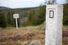 boundary stone, border between germany and the czech republic at mt lusen, ba - stock photo