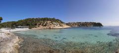 Hidden beach of portals vells, three finger bay, cala portals vells, cala mag Stock Photos