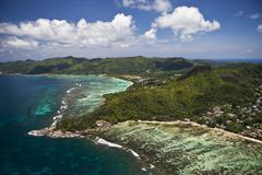 Aerial view, anse aux courbes and anse royal, southern mahé, mahé, seychell Kuvituskuvat