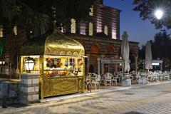 bath of roxelane and a restaurant, ayasofya meydani, sultanahmet historic dis - stock photo