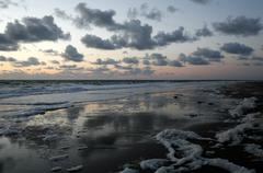 Sunset on the atlantic, french atlantic coast near saint-jean-de-luz, aquitai Stock Photos