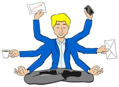 Businessman meditating in lotus position and does a lot of work at the same t Stock Illustration