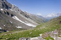 merano high mountain trail, view during the ascent to the peak of hohe wilde  - stock photo