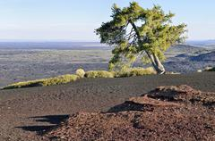 View from the summit plateau of inferno cone, craters of the moon national mo Stock Photos
