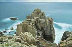 rock formation in porthgwarra, cornwall, england, united kingdom, europe - stock photo