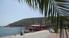 Pleasure boats in the harbor, Alanya, Turkey 3 - stock footage
