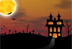 Halloween card with castle, pumpkin, bats and moon - stock illustration