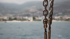 Stock Video Footage of chain on the excursion boat, Alanya, Turkey