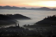 St. peter at atmospheric inversion in autumn, black forest, baden-wuerttember Stock Photos
