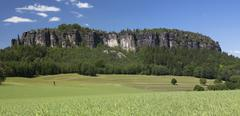 Stock Photo of pfaffenstein low table mountain, elbe sandstone mountains, saxony, germany, e