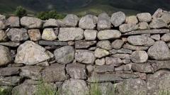 Dry stone wall north England Lake District no mortar Stock Footage