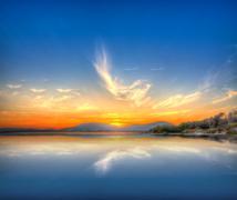sunset reflection - stock photo