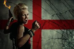 punk girl with molotov cockatail against england flag. - stock illustration