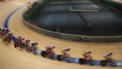Stock Video Footage of velodrome pursuit race