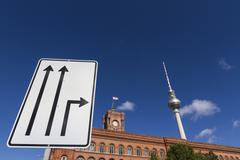 Traffic sign, berlin town hall and television tower at back, berlin, germany, Stock Photos