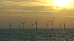 Offshore wind power / Windpark at the coast of the Netherlands - stock footage