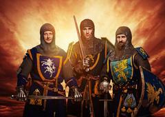 Three medieval knights against stormy sky. Kuvituskuvat