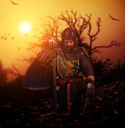 Medieval knight on his knee. Piirros