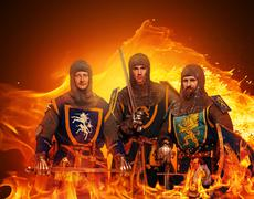 Three medieval knights  on flame background. Piirros