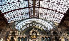 View at famous train station of antwerpen, belgium Stock Photos