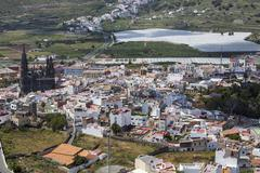 view of arucas and arucas cathedral, gran canaria, canary islands, spain, eur - stock photo