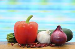 Capsicum, zucchini, garlic and onion Stock Photos