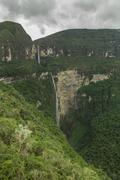 Gocta waterfall, 771m, with the surrounding cloud forest, cocachimba, amazona Stock Photos