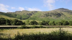 Beautiful Lake District river Mickleden Beck Langdale Valley PAN Stock Footage