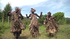 African People from Batwa Tribe Dancing in Slow Montion in Traditional Outfit Stock Footage