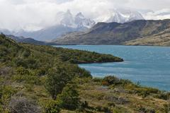view of the granite mountain cuernos del paine in the torres del paine nation - stock photo