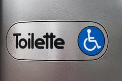 sign, handicapped-accessible toilet, stuttgart, baden-wuerttemberg, germany,  - stock photo