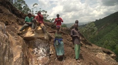 African People in a Stone Quarry in Uganda, Africa Stock Footage