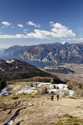 Hikers on their way to monte stivo mountain above st. barbara on lake garda,  Stock Photos