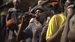 African People Drinking Juice, Uganda, Africa Stock Footage