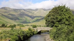 Mickleden Beck river Langdale Valley Lake District by Old Dungeon Ghyll Stock Footage
