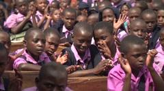 African School Children Applauding in Kabale, Uganda - stock footage