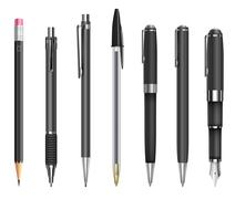Pens and pencils - stock illustration